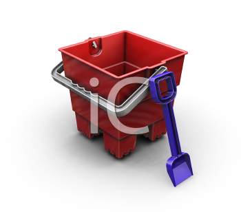 Royalty Free Clipart Image of a Toy Bucket and Spade