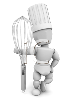 Royalty Free Clipart Image of a Chef With a Whisk