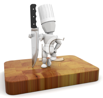 Royalty Free Clipart Image of a Chef With a Knife on a Cutting Board