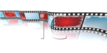 Royalty Free Clipart Image of a Filmstrip With Christmas Backgrounds