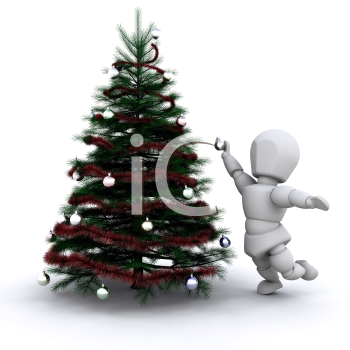 Royalty Free Clipart Image of a Person Decorating a Christmas Tree