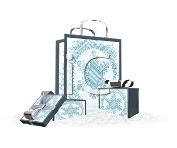 Royalty Free Clipart Image of a Gift Bag and Boxes in the Snow