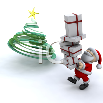 Royalty Free Clipart Image of Santa Putting Presents Under a Tree