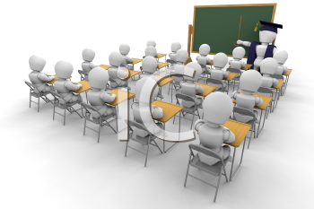 Royalty Free Clipart Image of a Children in a Classroom