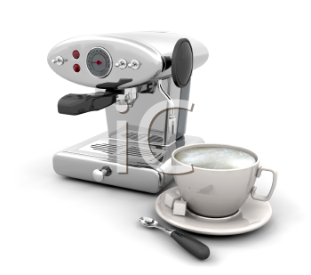 Royalty Free Clipart Image of a Coffee Maker and Cup