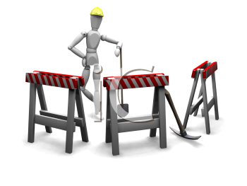 Royalty Free Clipart Image of a Guy at Barricades