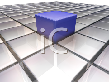 Royalty Free Clipart Image of a Blue Cube on Silver Tile