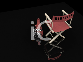 Royalty Free Clipart Image of a Director's Chair and Items