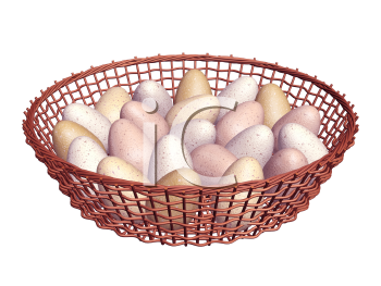 Royalty Free Clipart Image of Eggs in a Basket