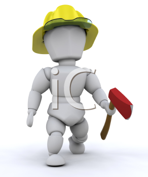 Royalty Free Clipart Image of a Firefighters With an Ax