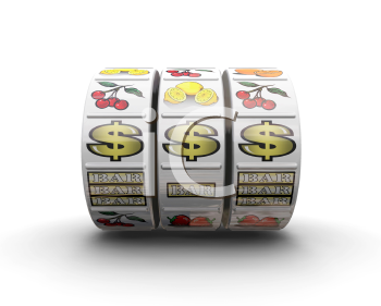 Royalty Free Clipart Image of Fruit Machine Reels Showing a Jackpot Line
