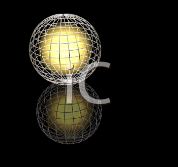 Royalty Free Clipart Image of a Wired Frame Around a Glowing Globe