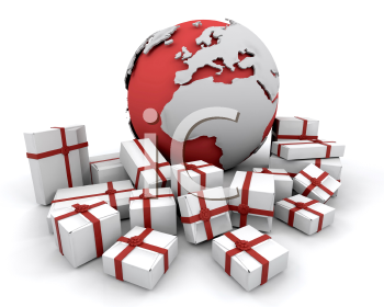 Royalty Free Clipart Image of a Globe With Presents