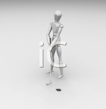 Royalty Free Clipart Image of a 3D Golfer Putting