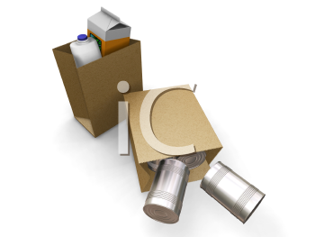 Royalty Free Clipart Image of a Grocery Bags With One Toppled Over