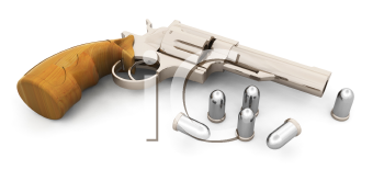 Royalty Free Clipart Image of a Handgun With Bullets