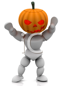 Royalty Free Clipart Image of a Person Wearing a Pumpkin Head
