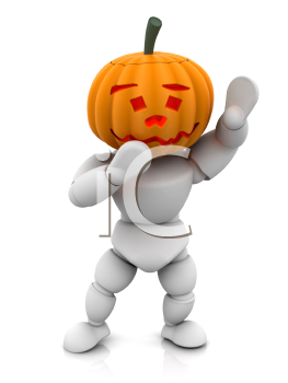 Royalty Free Clipart Image of a 3D Person Wearing a Pumpkin Head
