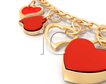 Royalty Free Clipart Image of a Gold Heart Bracelet
