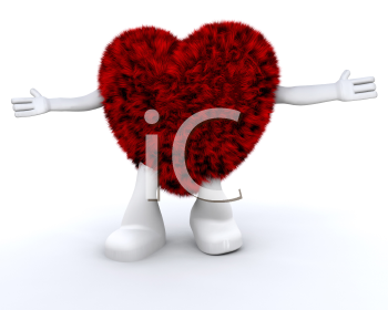 Royalty Free Clipart Image of a Furry Heart Character