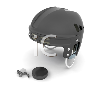 Royalty Free Clipart Image of a Hockey Referee's Helmet, Whistle and Puck