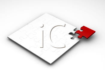 Royalty Free Clipart Image of a Puzzle With the Final Piece Being Added