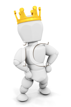 Royalty Free Clipart Image of a Person Wearing a Crown