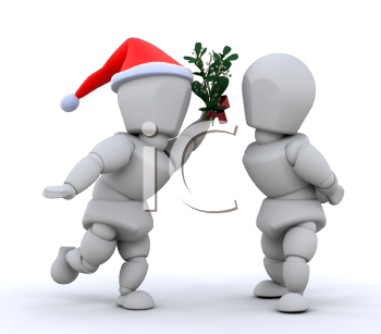Royalty Free Clipart Image of a Santa Guy Holding Mistletoe