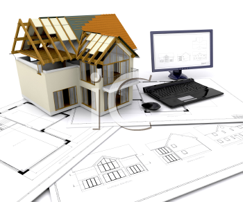 Royalty Free Clipart Image of a House Under Construction and a Computer on Blueprints