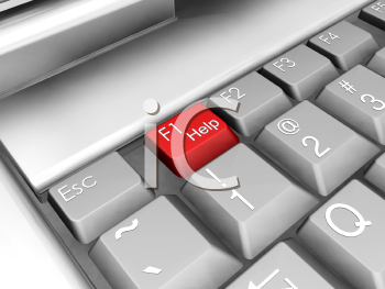 Royalty Free Clipart Image of a Keyboard With the F1 Help Key in Red