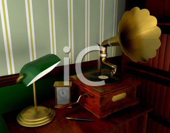 Royalty Free Clipart Image of a Retro Room With a Gramophone