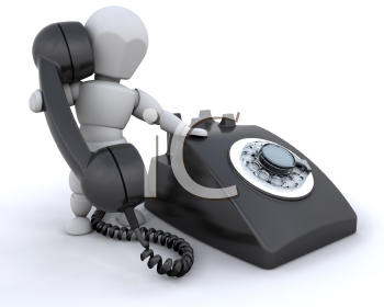 Royalty Free Clipart Image of a 3D Figure With a Dial Telephone