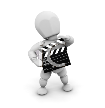 Royalty Free Clipart Image of a Man With a Clapper Board