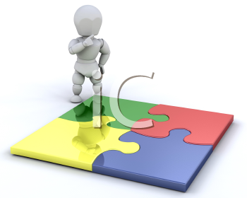 Royalty Free Clipart Image of at a Completed Puzzle