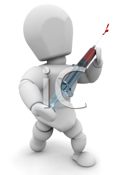 Royalty Free Clipart Image of a Person Holding a Syringe