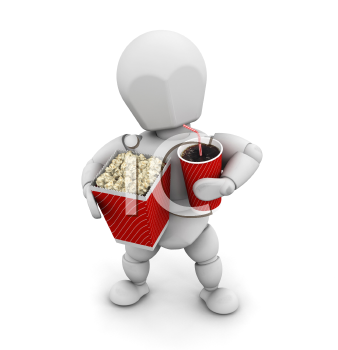 Royalty Free Clipart Image of a Person With Popcorn and a Soda