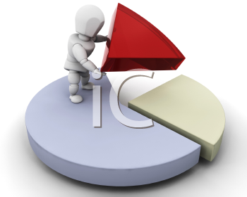 Royalty Free Clipart Image of a Person With a Pie Chart