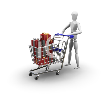 Royalty Free Clipart Image of a Person Pushing a Shopping Cart Full of Gifts