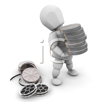 Royalty Free Clipart Image of a Person With Films