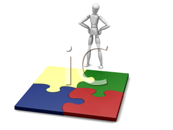 Royalty Free Clipart Image of a Person With Puzzle Pieces
