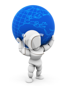 Royalty Free Clipart Image of a Person With a Globe