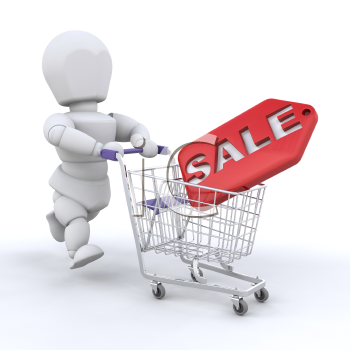 Royalty Free Clipart Image of a Person Pushing a Shopping Cart