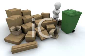 Royalty Free Clipart Image of a Person By Boxes and a Recycling Bin