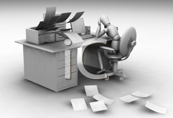 Royalty Free Clipart Image of a Person at a Desk
