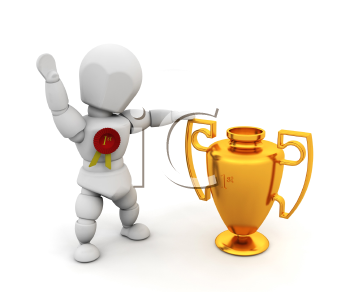 Royalty Free Clipart Image of a Person With a Cup and a Ribbon