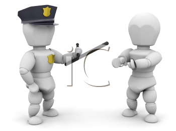 Royalty Free Clipart Image of a Policeman With a Criminal