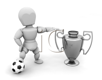 Royalty Free Clipart Image of a Person With a Soccer Ball and Cup