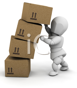Royalty Free Clipart Image of a Guy Holding Boxes