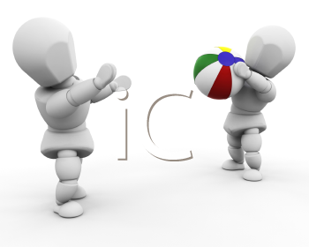 Royalty Free Clipart Image of People Throwing a Beach Ball