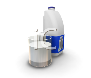 Royalty Free Clipart Image of Milk and a Glass